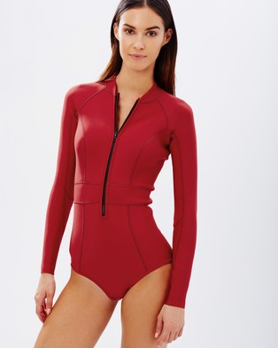 Duskii – Saint Tropez Long Sleeve Suit – One-Piece Swimsuit Red
