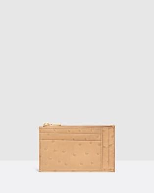Oroton Leia Four Card Zip Pouch - Wallets (Praline)