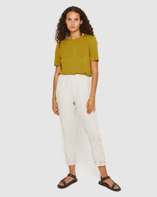 Jag Ava V Back Linen Tee - T-Shirts & Singlets (Olive)
