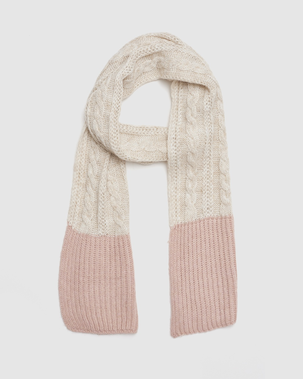 Kate & Confusion Cable Knit Scarf Scarves Gloves Pink