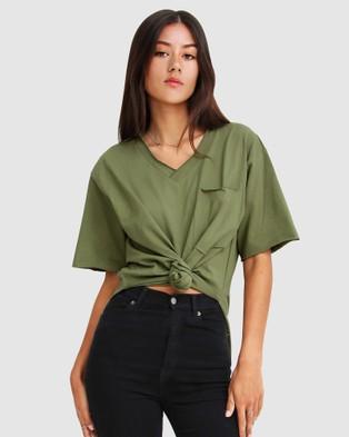 Belle & Bloom - Brave Soul Oversized T Shirt Short Sleeve T-Shirts (Military) T-Shirt
