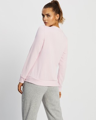 adidas Performance French Terry Logo Sweatshirt - Crew Necks (Clear Pink & White)