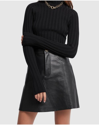 Aje - Overture Leather Mini Skirt