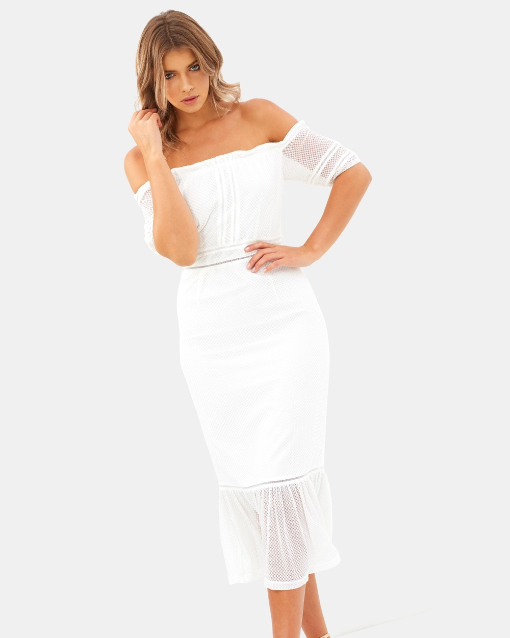Atmos & Here ICONIC EXCLUSIVE Malika Off Shoulder Dress Dresses White ICONIC EXCLUSIVE Malika Off Shoulder Dress