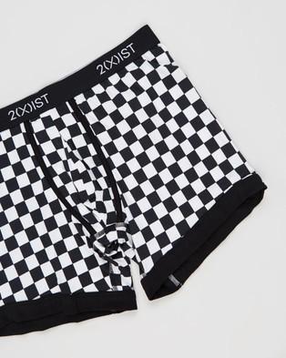 2xist - Graphic Cotton Check Boxer Briefs (Black & White)