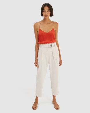 SABA Dharma Belted Slim Pants - Pants (red)