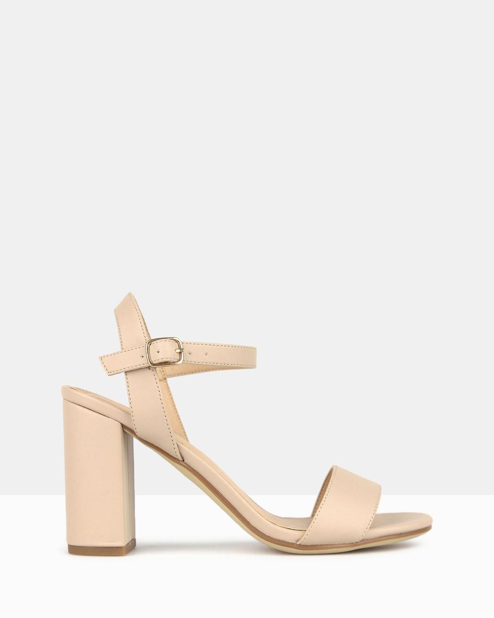 Betts Karly Block Heel Sandals Nude