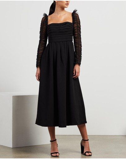 Self Portrait - Crepe Dot Mesh Sleeved Midi Dress