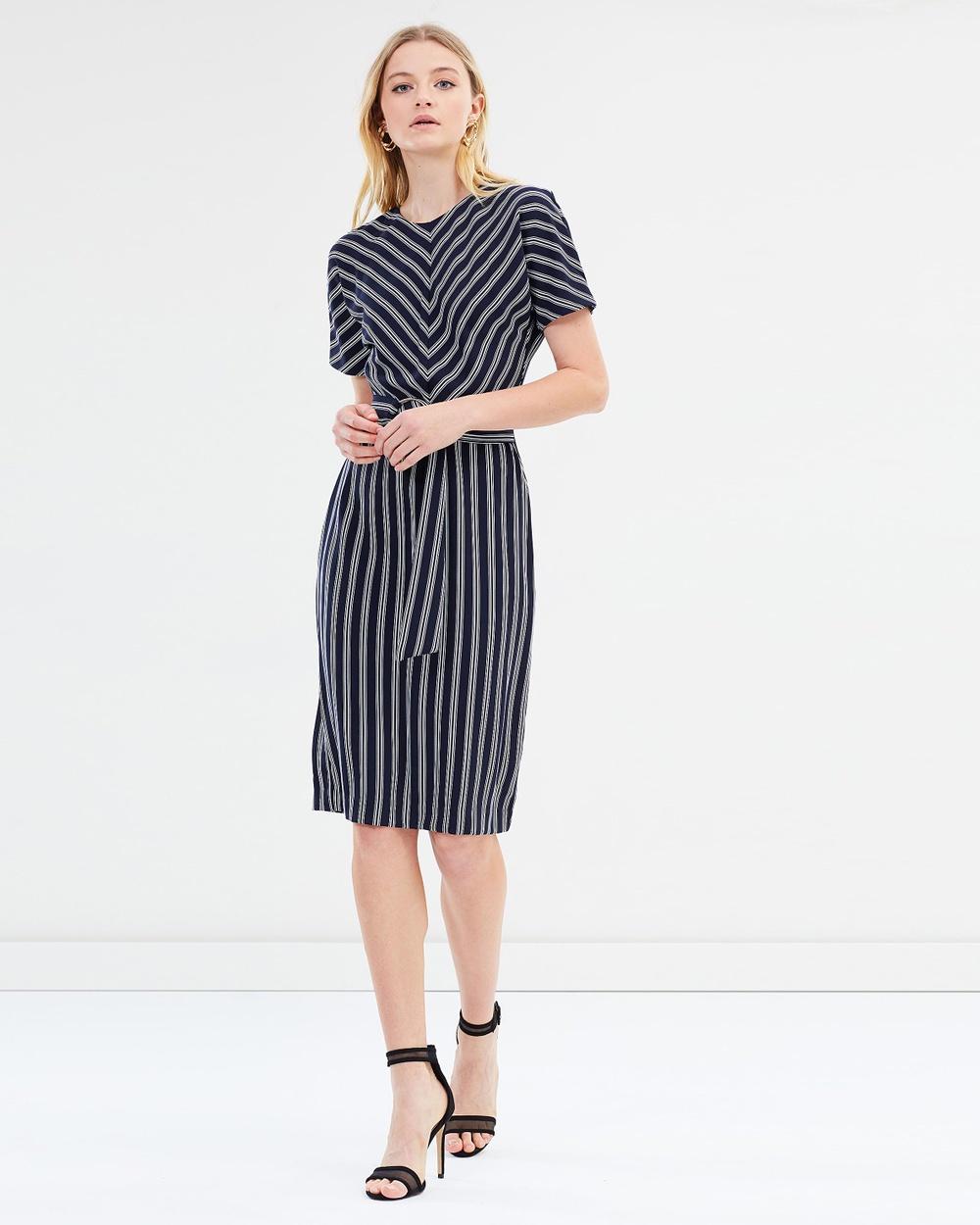 Warehouse Stripe Dress Dresses Navy Stripe Dress
