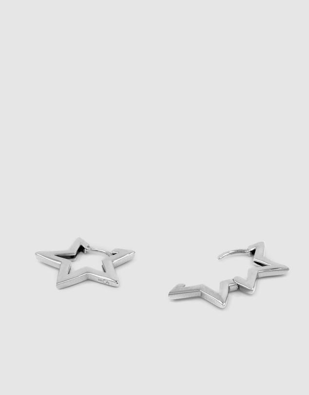 Women Star Small Hoops - Silver