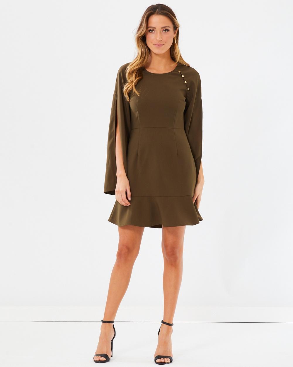 Calli Adriana Split Sleeve Button Dress Dresses Khaki Adriana Split Sleeve Button Dress