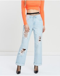 Missguided - High-Rise Distressed Boyfriend Jeans