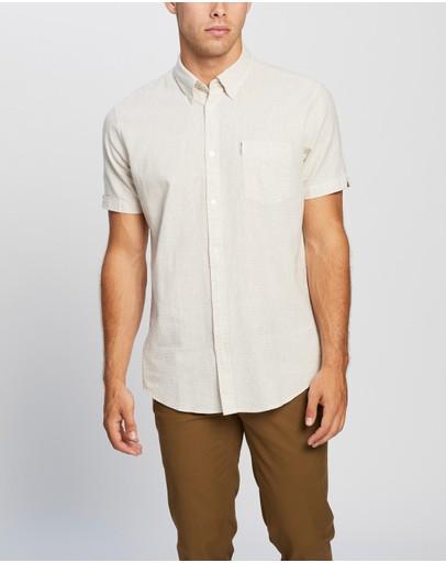 Ben Sherman Ss Linen Blend Houndstooth Shirt Off White