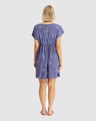 Bamboo Body Woven Smock Dress - Dresses (Grid Print)
