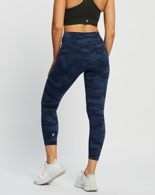 Sweaty Betty Power Workout 7 8 Leggings - Full Tights (Navy Blue Camo Print)