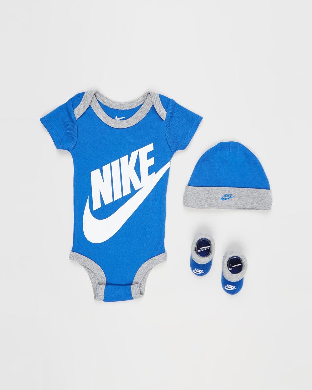 Nike Futura Three Piece Bodysuit, Beanie & Booties Set Babies Headwear Game Royal Three-Piece