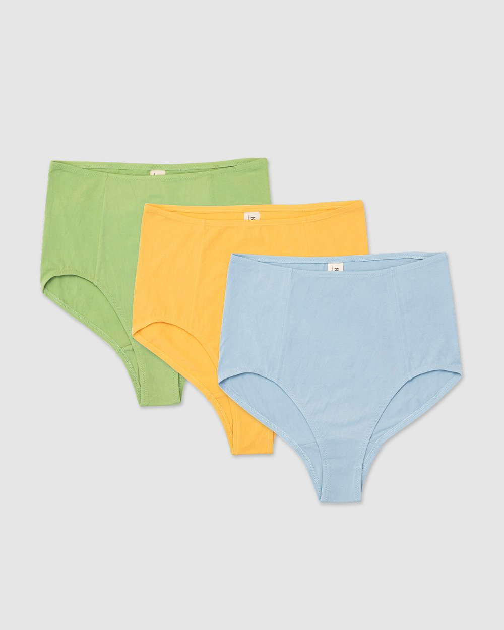 Nico Pack Of 3 Plant Dyed Organic Cotton High Waisted Briefs Powder Blue, Marigold, Sage