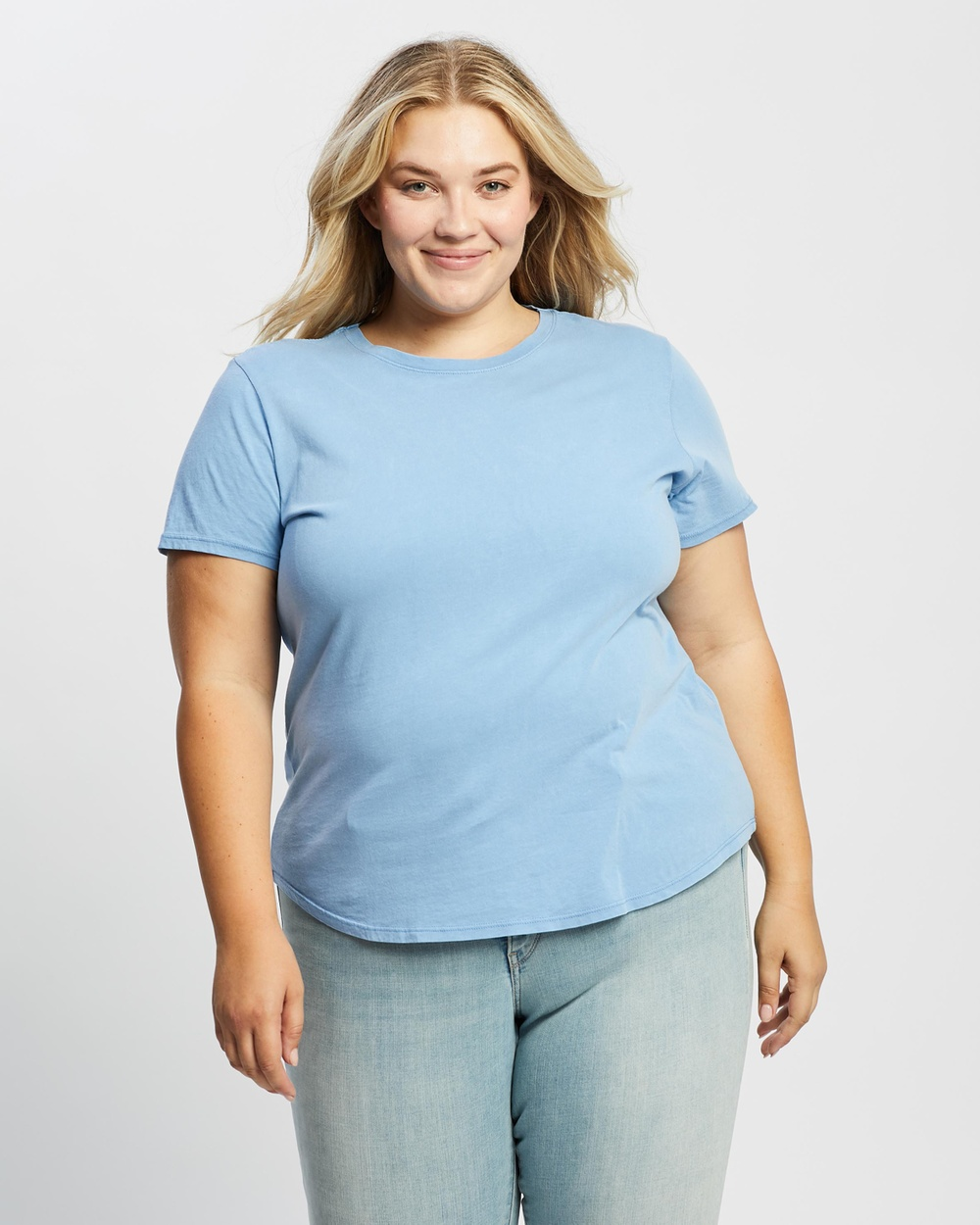 Cotton On Curve - The One Crew Tee - T-Shirts & Singlets (Washed Authentic Blue) The One Crew Tee