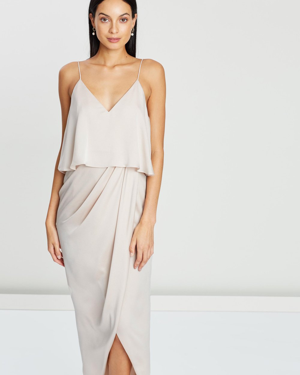 6b39402801c Luxe Draped Cocktail Frill Dress by Shona Joy Online
