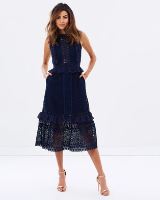 Perseverance – Stripe Guipure Lace Sleeveless Midi Dress – Dresses (Navy)