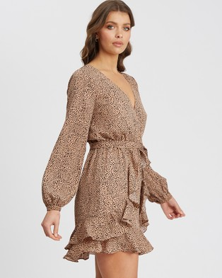 Tussah - Zula Mini Dress - Printed Dresses (Tan Speckle) Zula Mini Dress