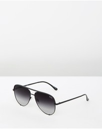 Quay Australia - High Key Black Aviator Sunglasses