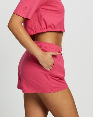 Les Girls Les Boys Jersey Apparel Loose Shorts - High-Waisted (Raspberry)
