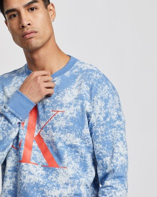Calvin Klein CK One Crew Sweatshirt - Sleepwear (Azure Bleach Dye Toucan Beak)