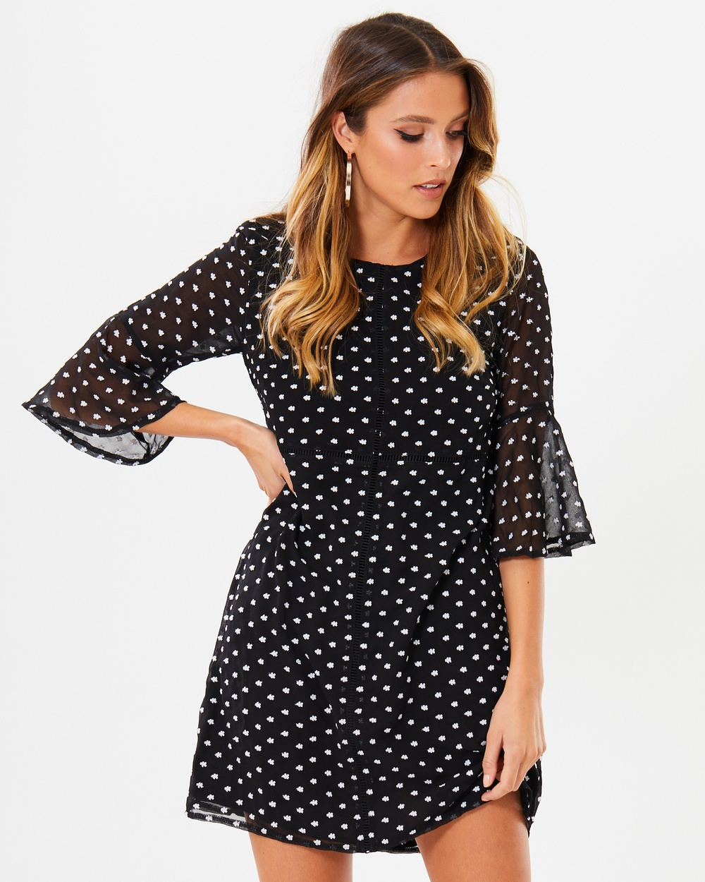 Calli Danette Flare Sleeve Shift Dress Dresses Black Daisy Embroidery Danette Flare Sleeve Shift Dress
