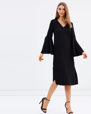 M.N.G – Ruffle Sleeve Dress Black