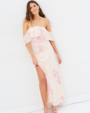 Atmos & Here – Aurora Off Shoulder Maxi Dress – Dresses (Peony Print)
