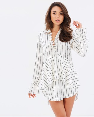 Shona Joy – Bermuda Lace Up Mini Dress – Tops Ivory Stripe