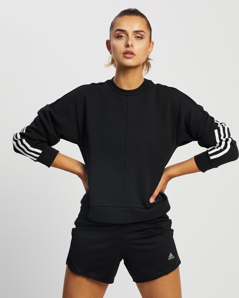 adidas Performance 3 Stripes Crew Sweatshirt Necks Black & White 3-Stripes