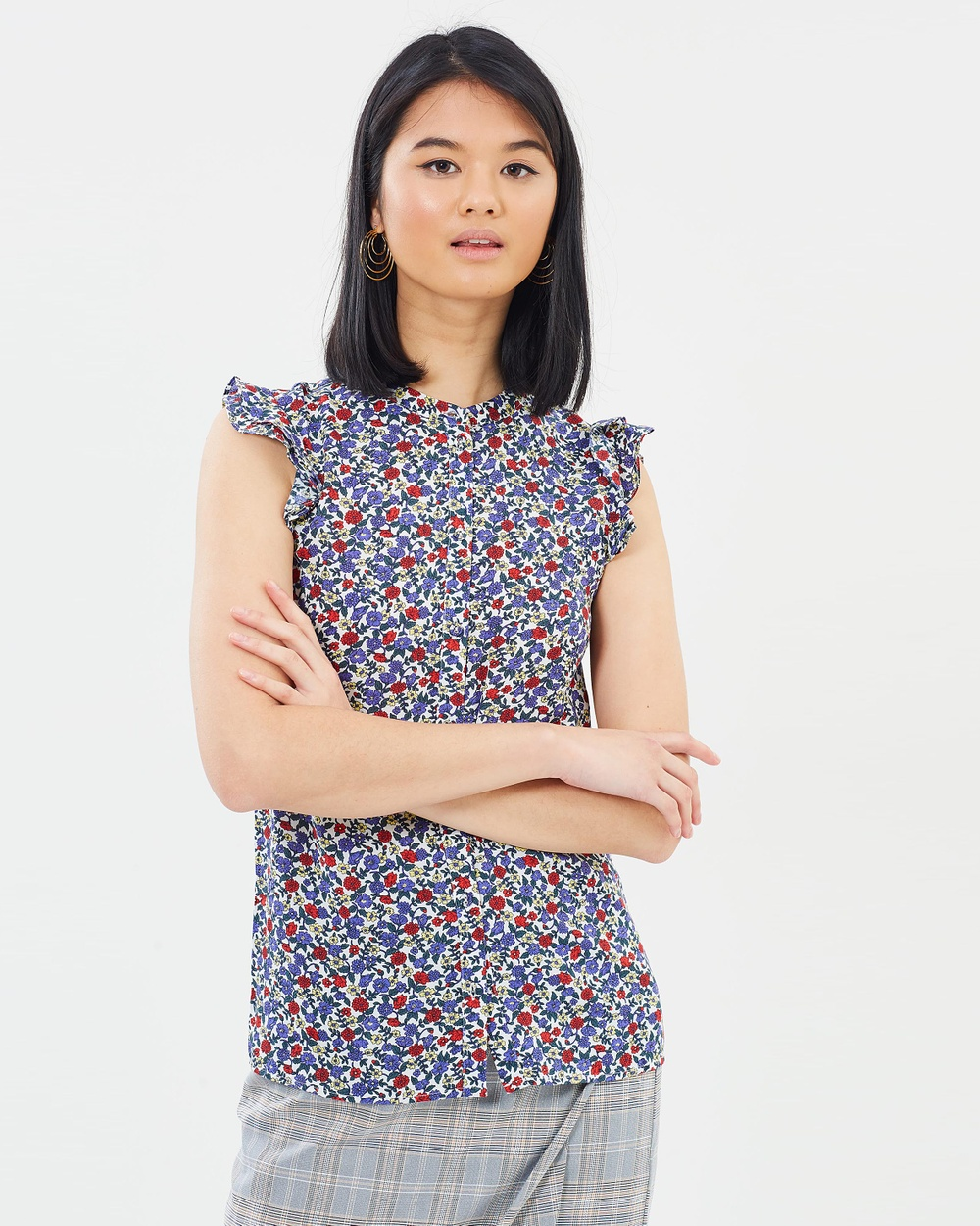 Oasis Ditsy Frill Sleeve Shirt Tops Multi Ditsy Frill Sleeve Shirt