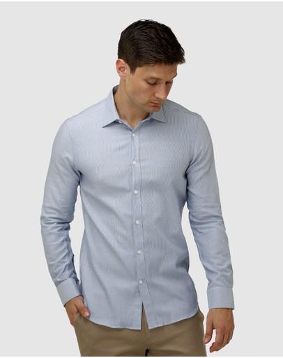 Brooksfield Micro Three Tone Business Shirt Blue