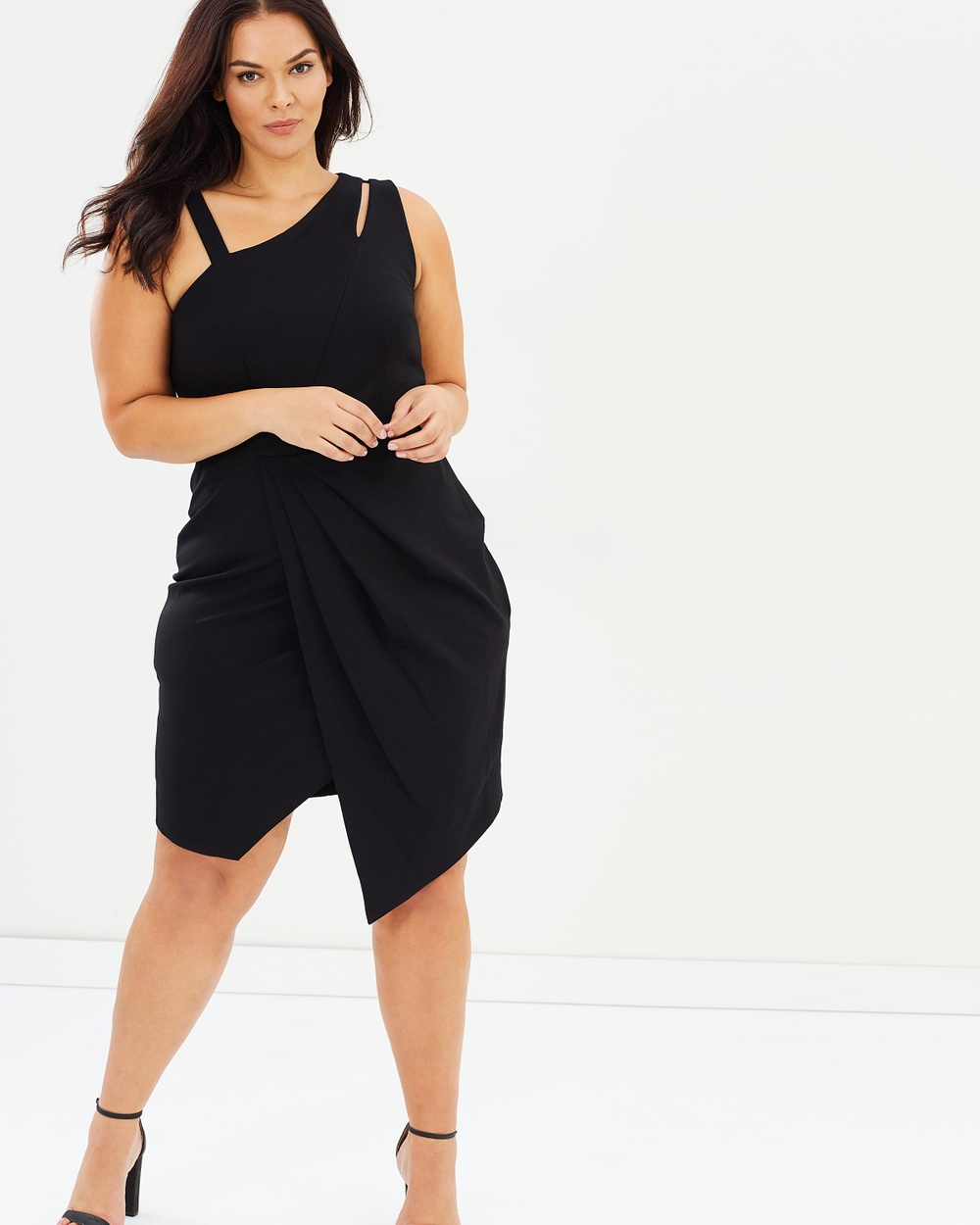 Rebel Wilson x Angels Asymmetrical Cut Out Dress Dresses Black Asymmetrical Cut-Out Dress