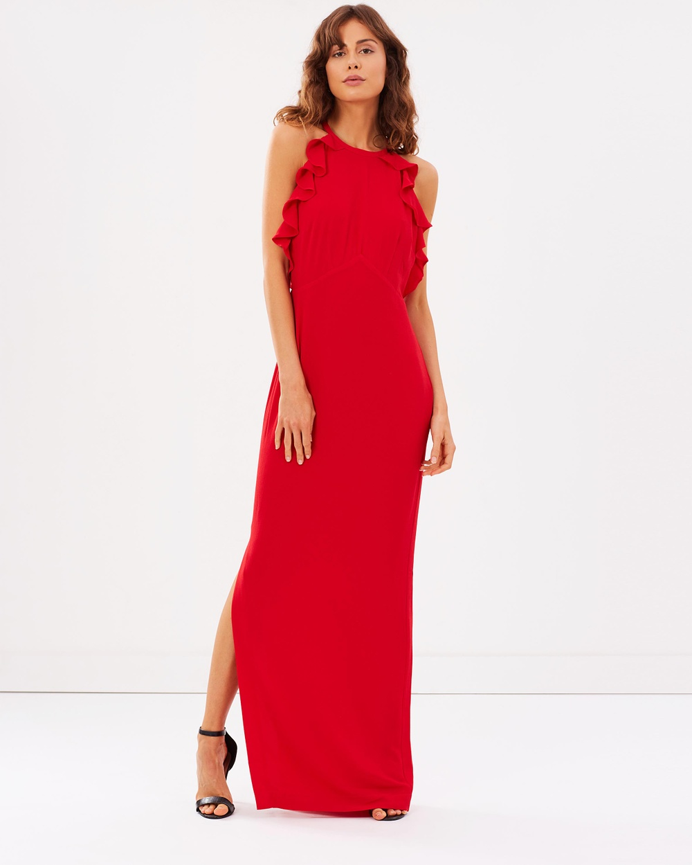 Whistles Sonia Frill Maxi Dress Dresses Red Sonia Frill Maxi Dress
