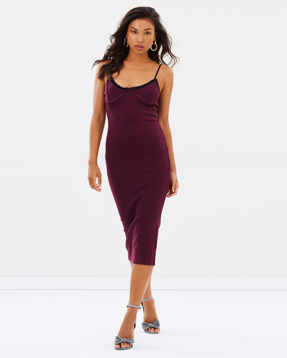 Missguided Strappy Ribbed Bust Cup Lace Trim Midi Dress Bodycon Dresses Purple Strappy Ribbed Bust Cup Lace Trim Midi Dress