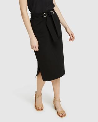 Oxford Giselle Eyelet Detail Ponti Skirt - Pencil skirts (Black)