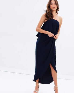 Shona Joy – Strapless Frill Drape Maxi – Bridesmaid Dresses (Navy)