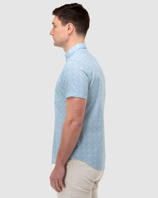 Brooksfield Floral Print Short Sleeve Casual Shirt - Casual shirts (PINE)