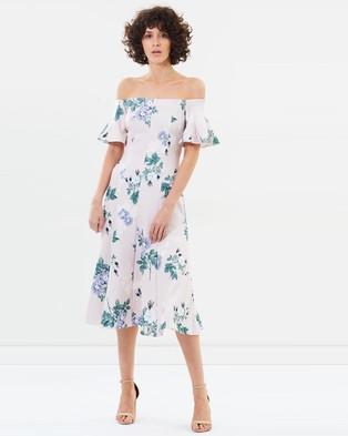 Lover – Petunia Off Shoulder Midi – Printed Dresses Pearl