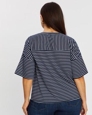 Atmos&Here Curvy Roz Striped Contrast Tee - T-Shirts & Singlets (Navy Stripe)