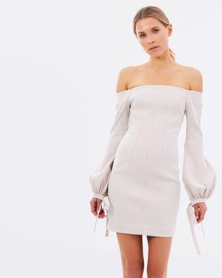 BY JOHNNY. – Bonded Gingham Balloon Sleeve Mini Dress – Bodycon Dresses (Oat & White)
