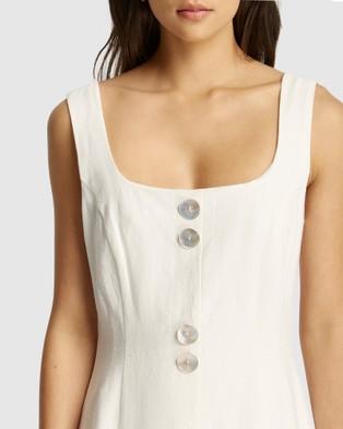 FRIEND of AUDREY Astor Linen Buttoned Dress - Dresses (White)