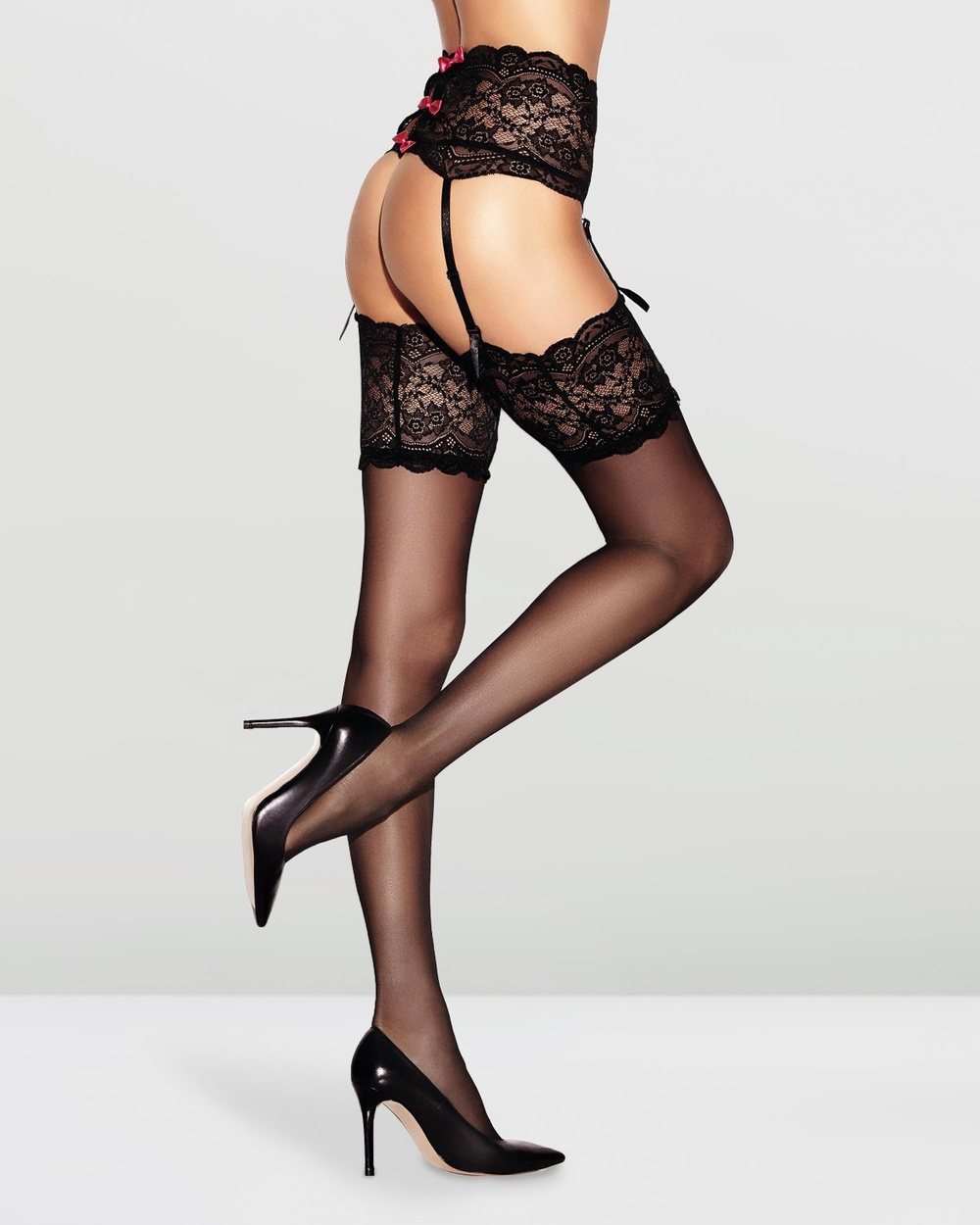 Ann Summers Bow Back Stocking Suspender Set Hold Up Stockings Black