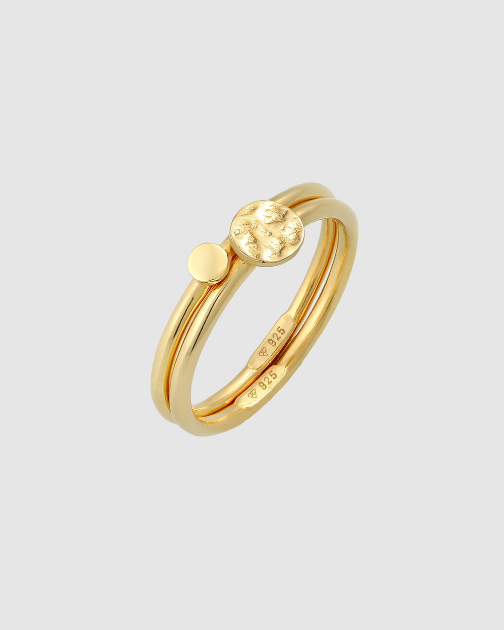 Elli Jewelry Ring Stacking Duo Circle Plate Trend in 925 Sterling Silver Gold Plated Jewellery Gold