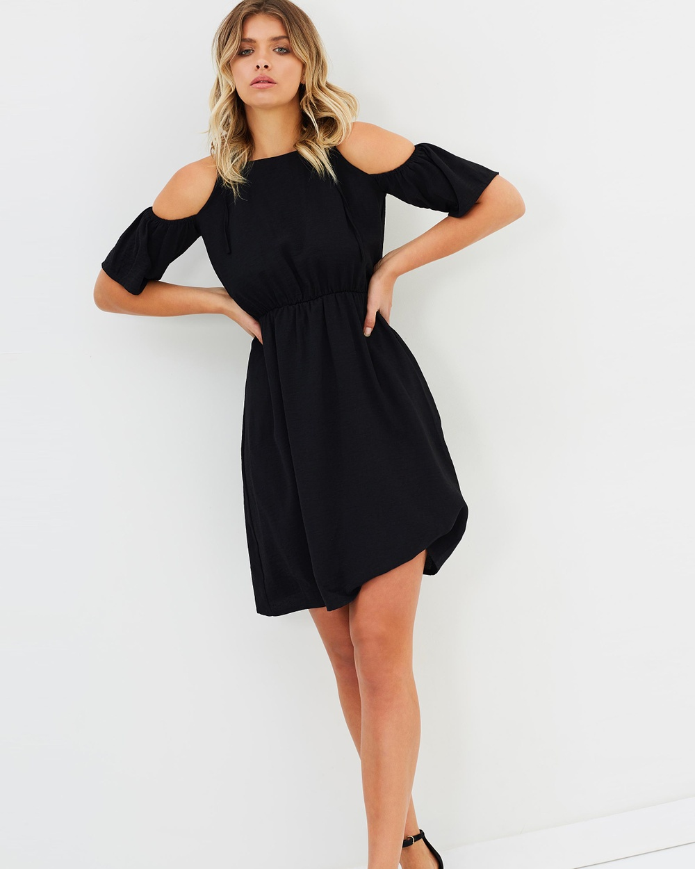 Atmos & Here ICONIC EXCLUSIVE Averi Cut Out Sleeve Dress Dresses Black ICONIC EXCLUSIVE Averi Cut Out Sleeve Dress