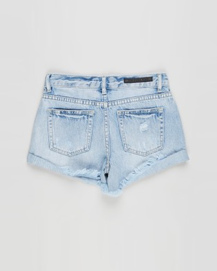Decjuba Kids Alexa Hem Denim Shorts   Kids Teens - Denim (Summer Bleach Wash)