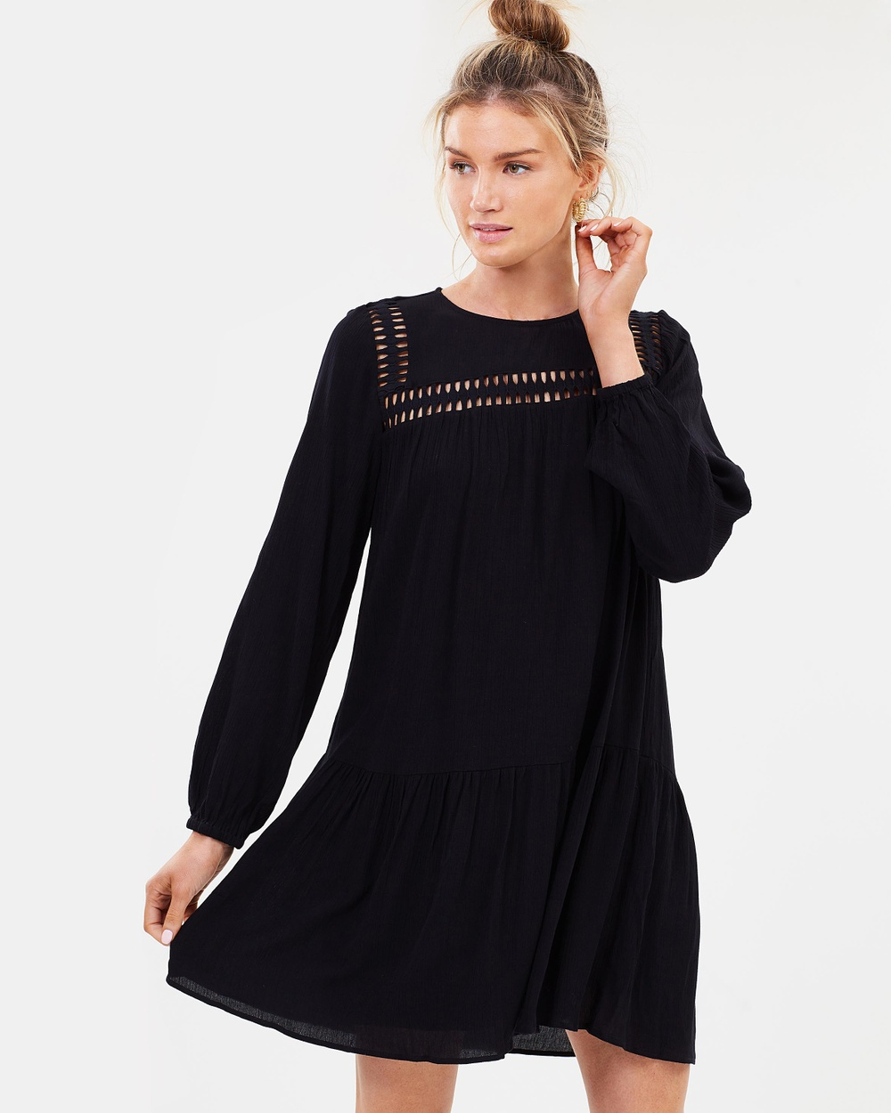 Decjuba Regan Lace Trim Dress Dresses Black Regan Lace Trim Dress